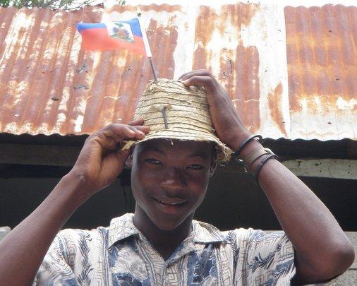 Patriotic Haitian visiting us at a work site