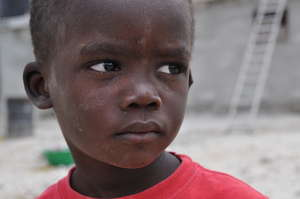 Earthquake affected child in an orphanage