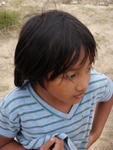 One of the children living in an evacuation center