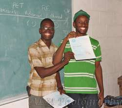 An English student receiving his certificate!
