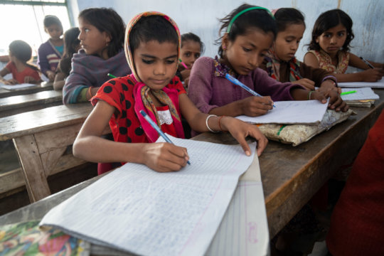 Girls studying at Kaliyachak Girls School