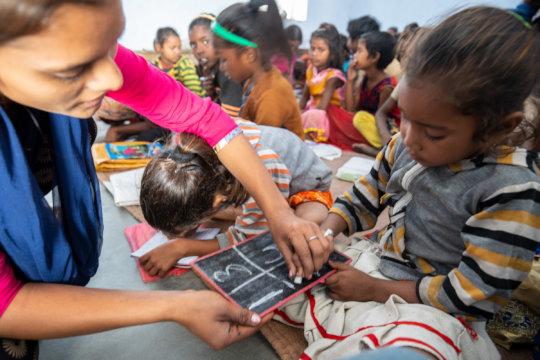 Learning numbers at Kaliyachak Girls School