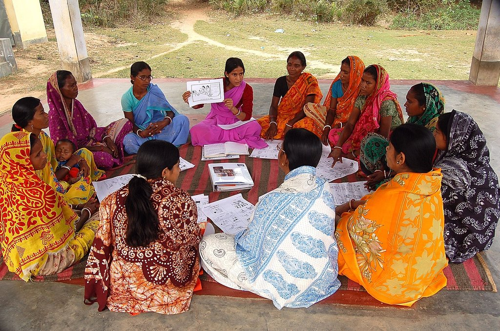 A local self-help group: women and girls, mothers and daughters, find collective courage to act on the new knowledge and skills they learn in self-help groups.