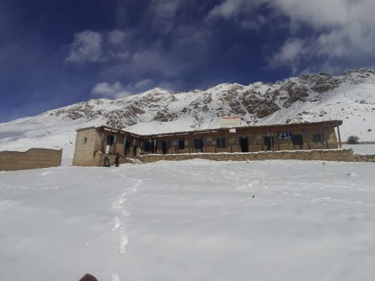 School in winter times with little snow