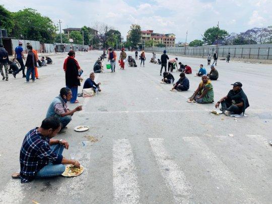Food distribution to affected people in Kathmandu