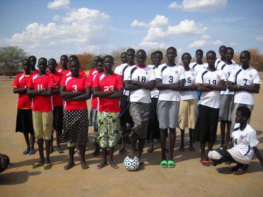 Girls in Soccer Uniforms