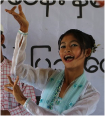 Cherry performing Burmese traditional dance