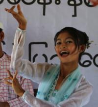 Cherry performing Burmese traditional dance