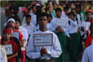 Nay leading students on Human Rights March