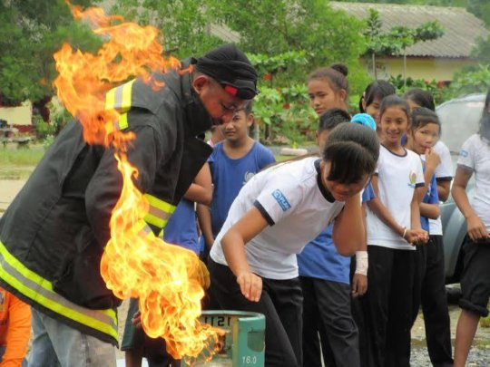 A fire fighting drill conducted at our school