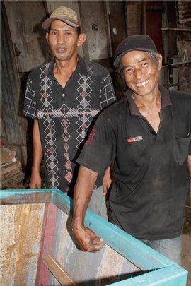 Mr. Satiri (l), Mr. Wardi (r) & New Trash Cart