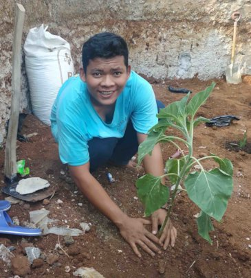 The student learns how to plant