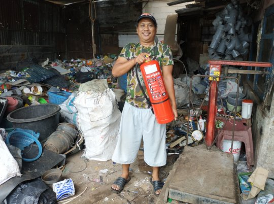 Mamat with his new fire extinguisher