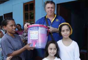 Receiving their filtered water pot