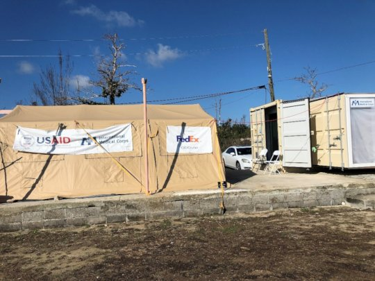 The temporary fixed health clinic in High Rock.