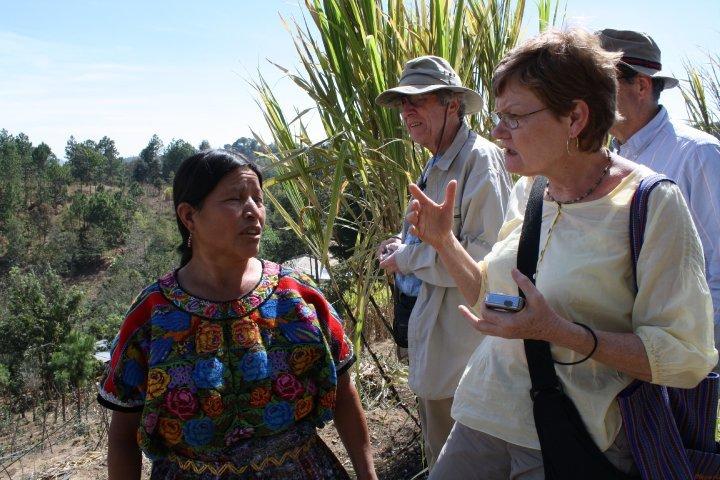 Tour participants visit a project