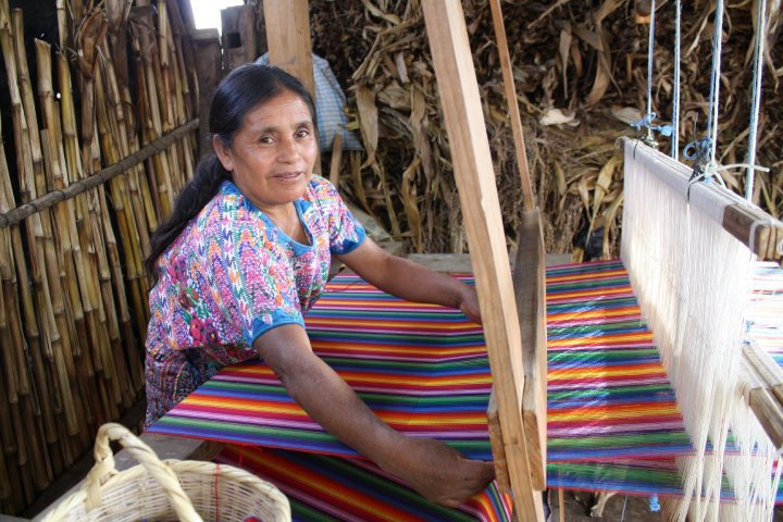 Vicenta is always happy when she weaves because this means she has an income that allows her to be a fully contributing member of her community in the central highlands of Guatemala.  Vicenta weaves beautiful fabrics that are crafted into products for the U.S. and European markets.