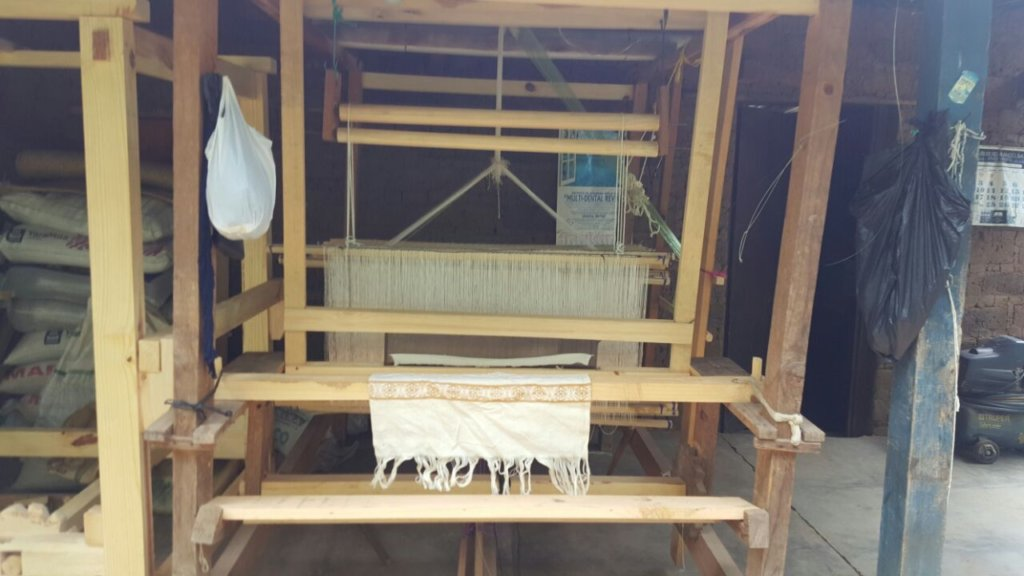 The new tallit on the loom.