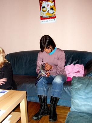 Tamara learning to make jewelry!