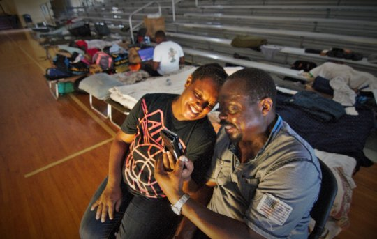 Bahamian storm survivors at a shelter