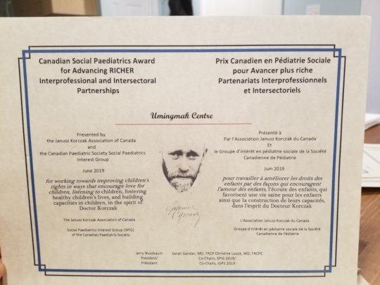 Canadian Social Paediatrics Award