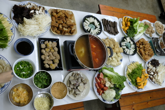 yearend plant-based hotpot made by the children