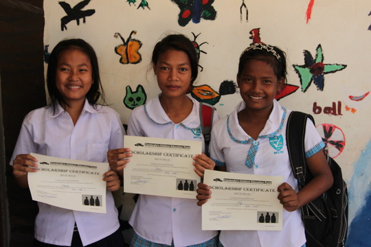 In Phnom Penh receiving scholarship certificates!