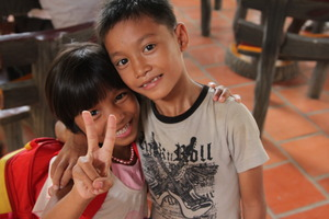 2 scholarship recipients posing in Siem Reap.