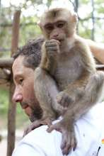 The Author with a Rescued Baby Macaque