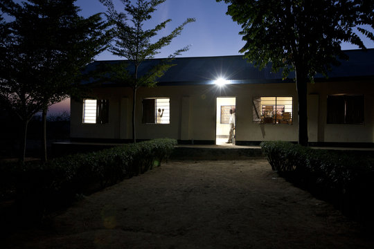 Solar lighting at a rural school
