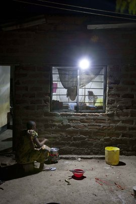 Solar lighting at a village home