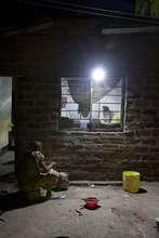 Solar lighting at a village home