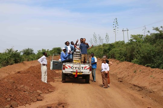 TanzSolar crew, on the road to a village.