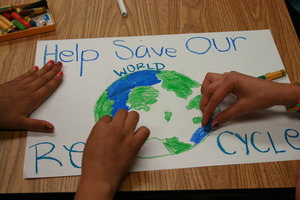 Students create posters to put up at their school