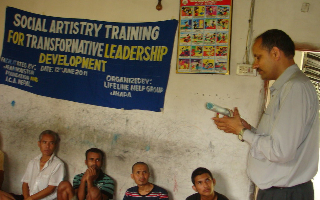 Amba demonstrating time stick in Japha training