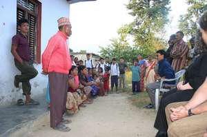 Facilitating a project meeting in Devdaha, Nepal