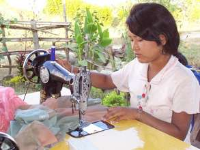 Nepali girl participates in sewing training