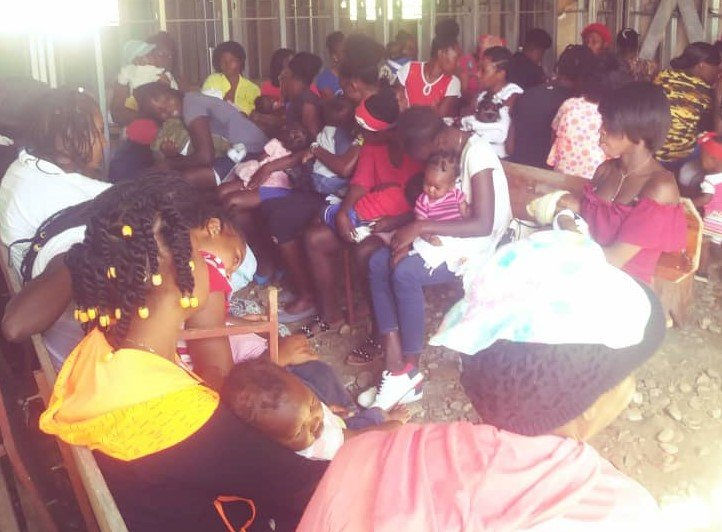 Many mothers show up for monthly vaccinations