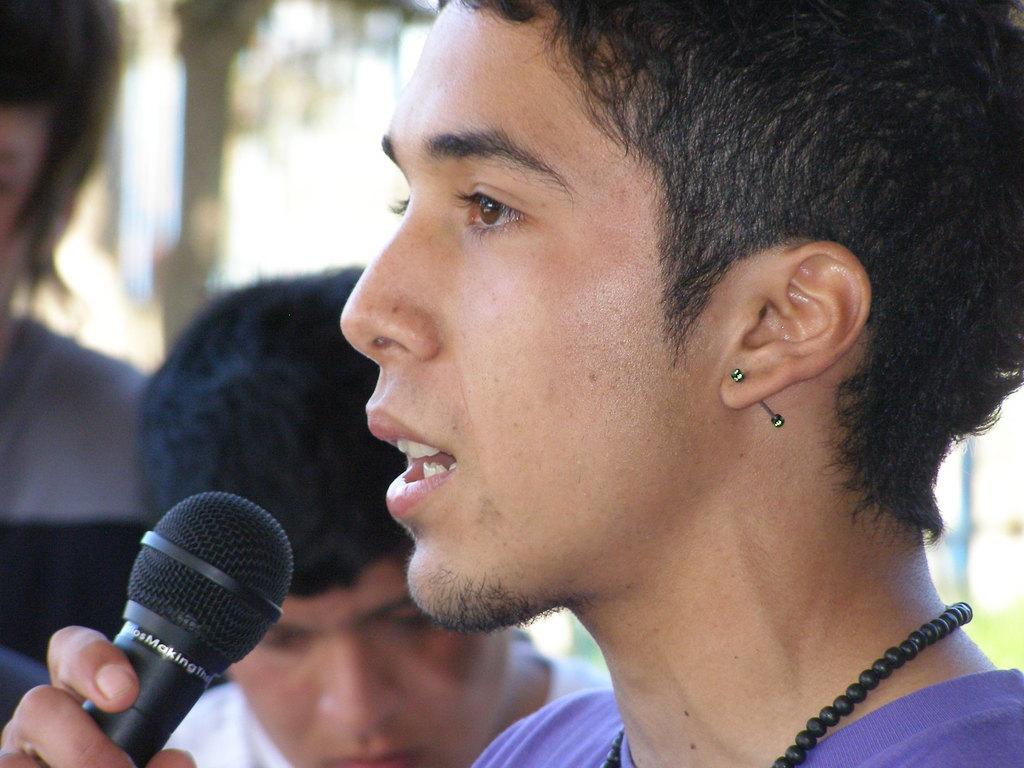 Lucas speaking at his last Student Retreat