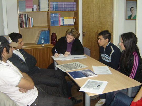 Students at their job training course