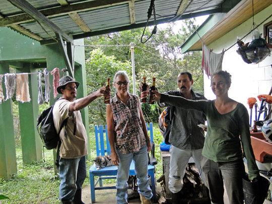 Miguel, me, Omar and Kyra Hagl w/beers