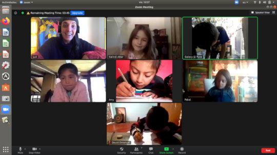 Children during online class