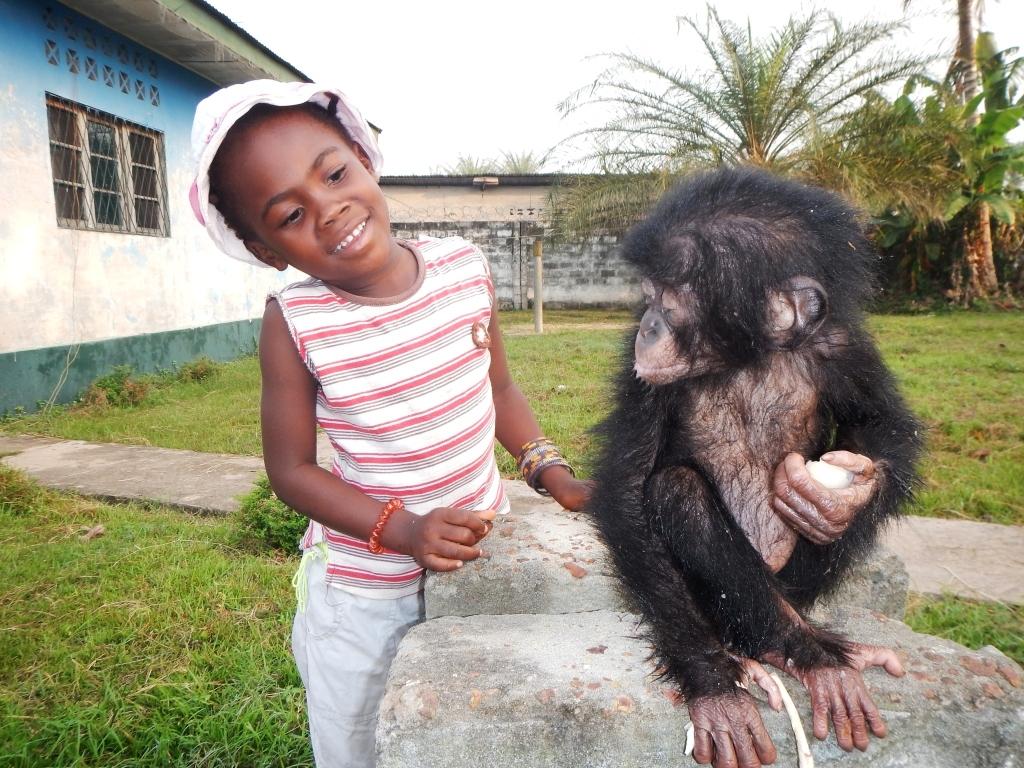 Bikoro in Mbandaka with a new friend, Sally