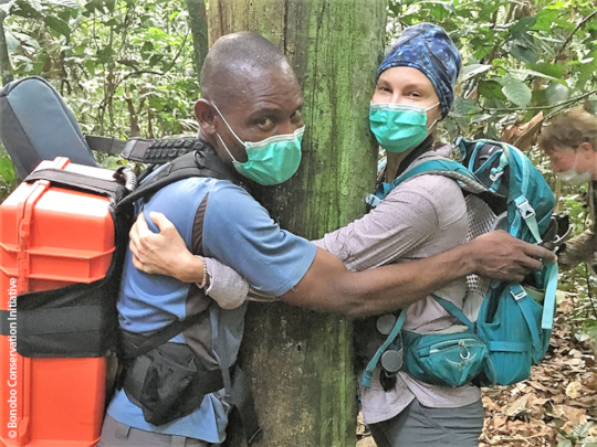 Loving the forest! Eco-guard Feza and Ashley Judd