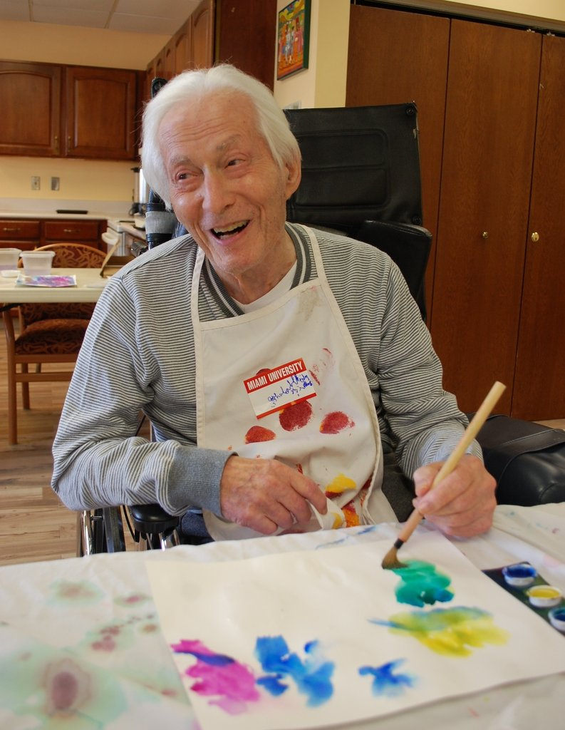 Albert lives with late stage dementia. On this day during the Opening Minds Through Art Program (OMA), Albert was fully awake and vibrant.