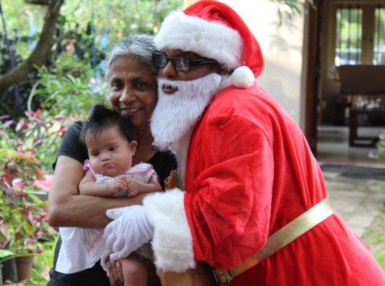 Yehansa on Christmas Day with Santa and Pushpa