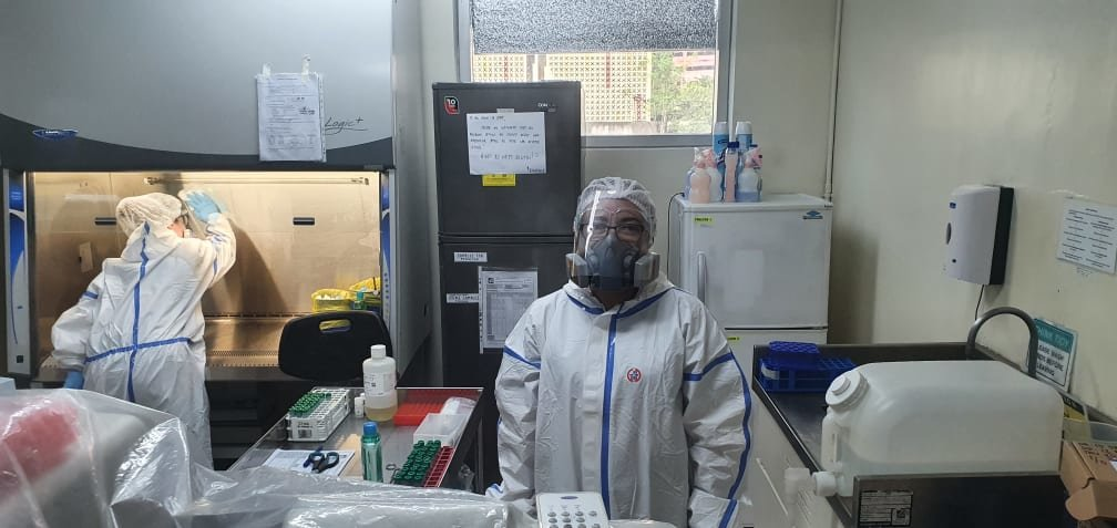 Respirator being used in BSL2 COVID-19 testing