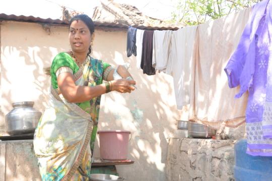 Dhanashree working at home
