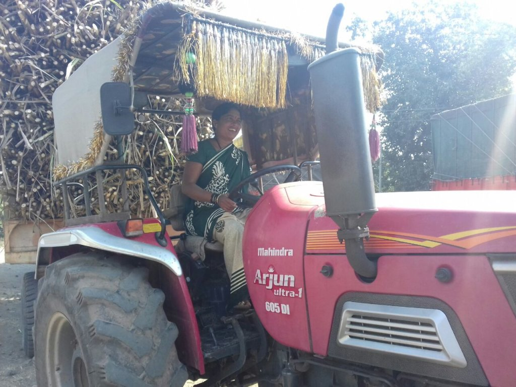 Manisha Driving Tractor at her farm