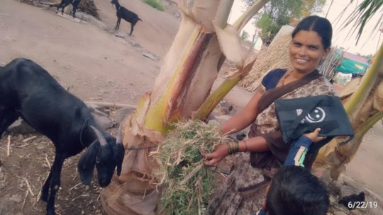 Balutai with her goat